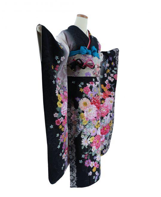 振袖[ガーリー]黒×白・レースバラ[170cmまで]