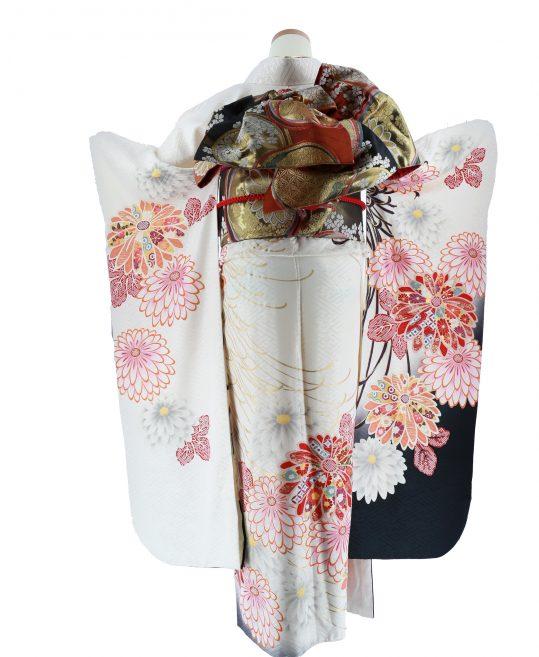参列振袖[大柄古典][レトロモダン]白に菊[身長162cmまで]No.726