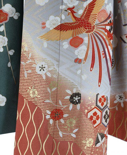 参列振袖[個性派レトロ]グレー×オレンジに紅白の梅[身長162cmまで]No.794