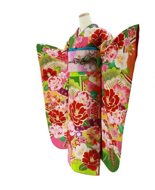 振袖[AMIAYA]緑×赤×ピンク・椿[162cmまで]