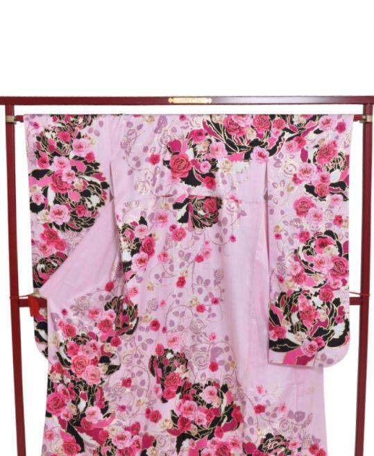 振袖[CECIL McBEE]ピンク×黒・バラ[157cmまで]