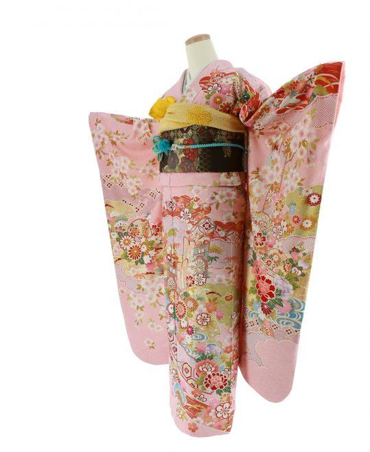 振袖[新古典]ピンク・花御所車[169cmまで]