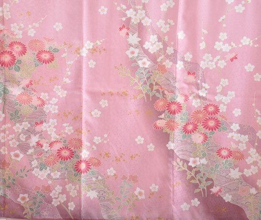 訪問着 ピンクに赤の菊柄[167cmまで]No.588
