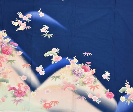 訪問着No.601 [乙葉]濃紺にピンク菊牡丹[165cmまで]