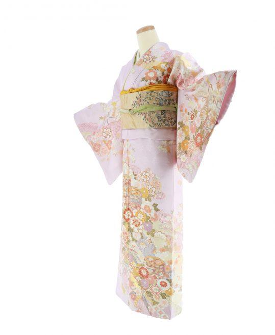 訪問着No.604 |薄ピンク紫地に古典柄刺繍[163cmまで]
