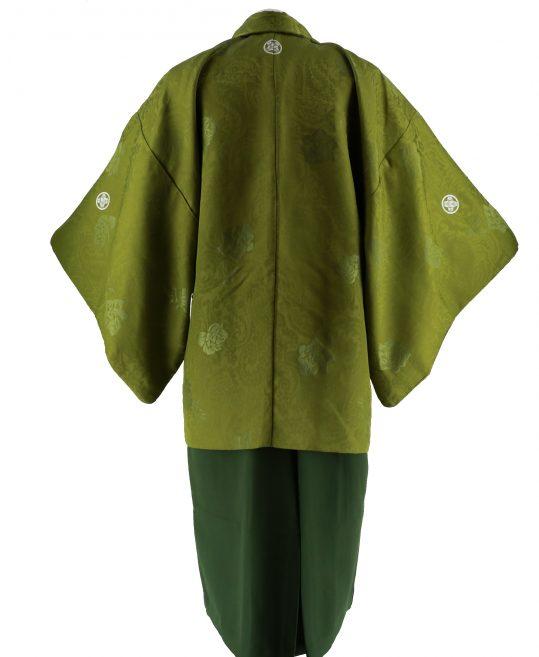 紋付袴No.101|抹茶色 バラ刺繍 対応身長 / 175-180cm前後