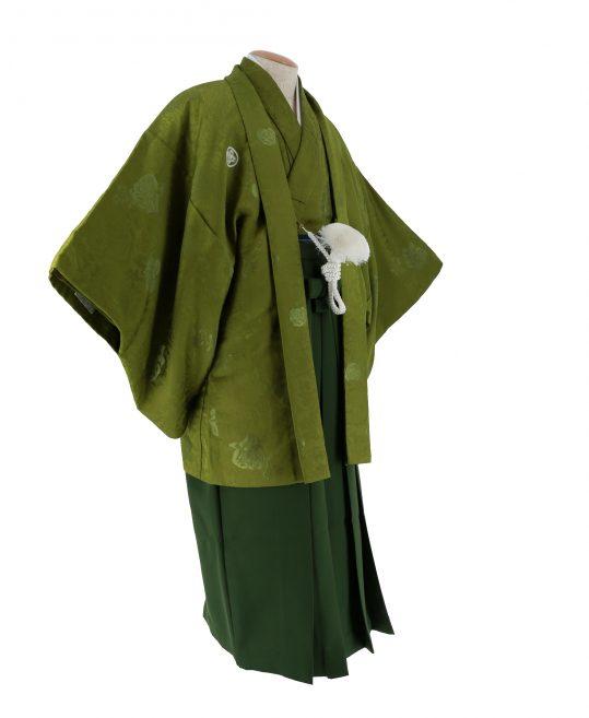 紋付袴No.100|抹茶色 バラ刺繍 対応身長 / 165-170cm前後
