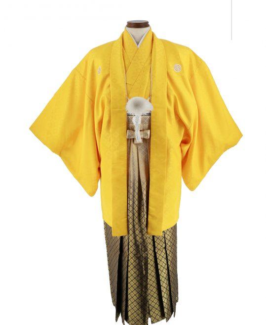 紋付袴No.131|黄色 菱形模様 対応身長 / 170-175cm前後