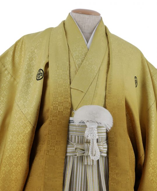 紋付袴No.139|淡い金色から濃い金色へぼかし 市松模様 対応身長 / 175-180cm前後