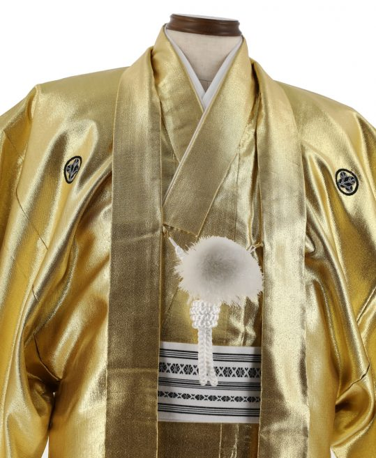 紋付袴No.244|金色 無地 対応身長 / 165cm前後