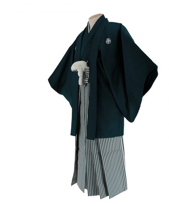 紋付袴No.28|深緑色 刺子 対応身長 / 175cm前後