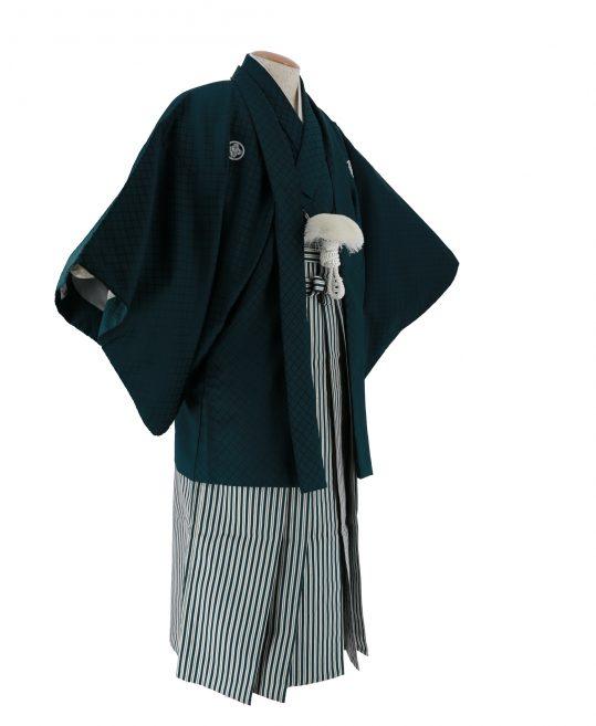 紋付袴No.27||深緑色 刺子 対応身長 / 170cm前後