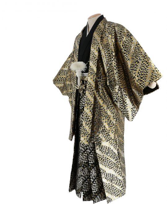 紋付袴No.283|金色 鱗模様 対応身長 / 175cm前後