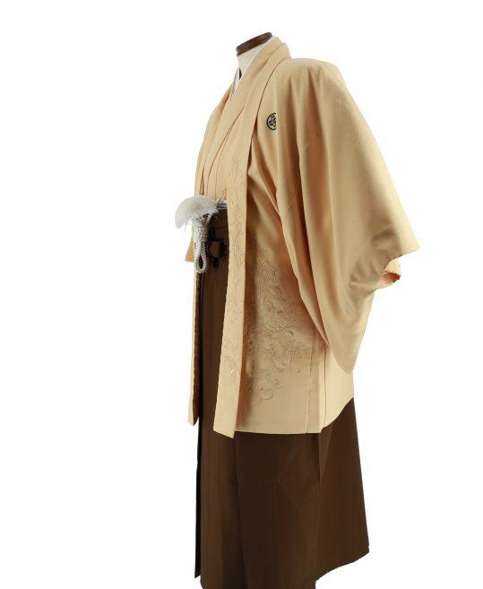 紋付袴No.75|ベージュ 唐草刺繍 対応身長 / 175-180cm前後