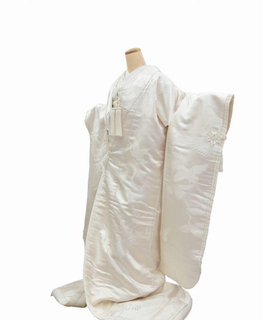 結婚式の白無垢・花嫁用着物|大きな鶴の刺繍・十二単風 [クール系] No.305