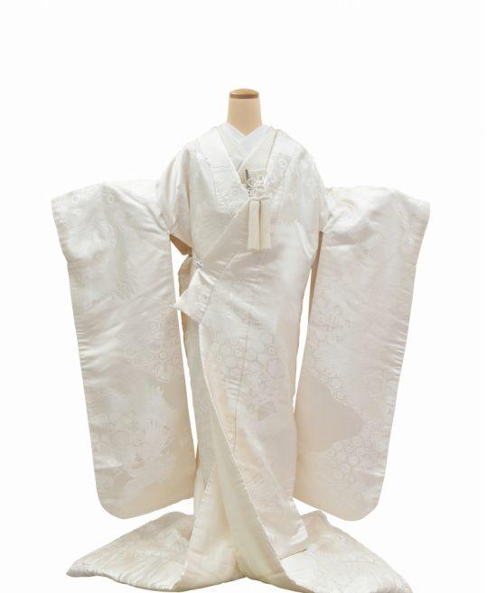 結婚式の白無垢・花嫁用着物|鶴と亀甲文様 [クール系] No.320