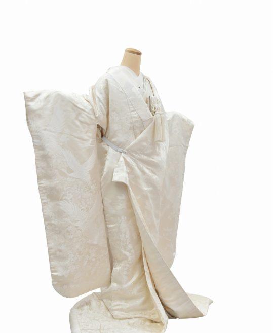 結婚式の白無垢・花嫁用着物|鶴と雀に野の花柄 [かわいい] No.321