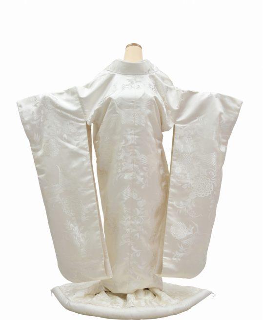 結婚式の白無垢・花嫁用着物 唐草文様に華文と鶴 [ゴージャス] No.326